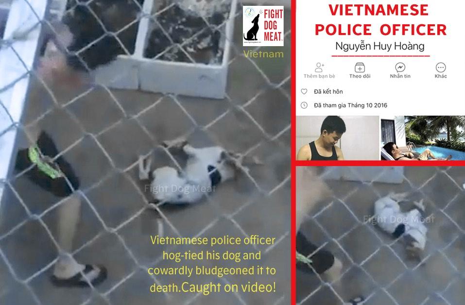 Vietnam: Police Officer Brutally Bludgeons Own Dog